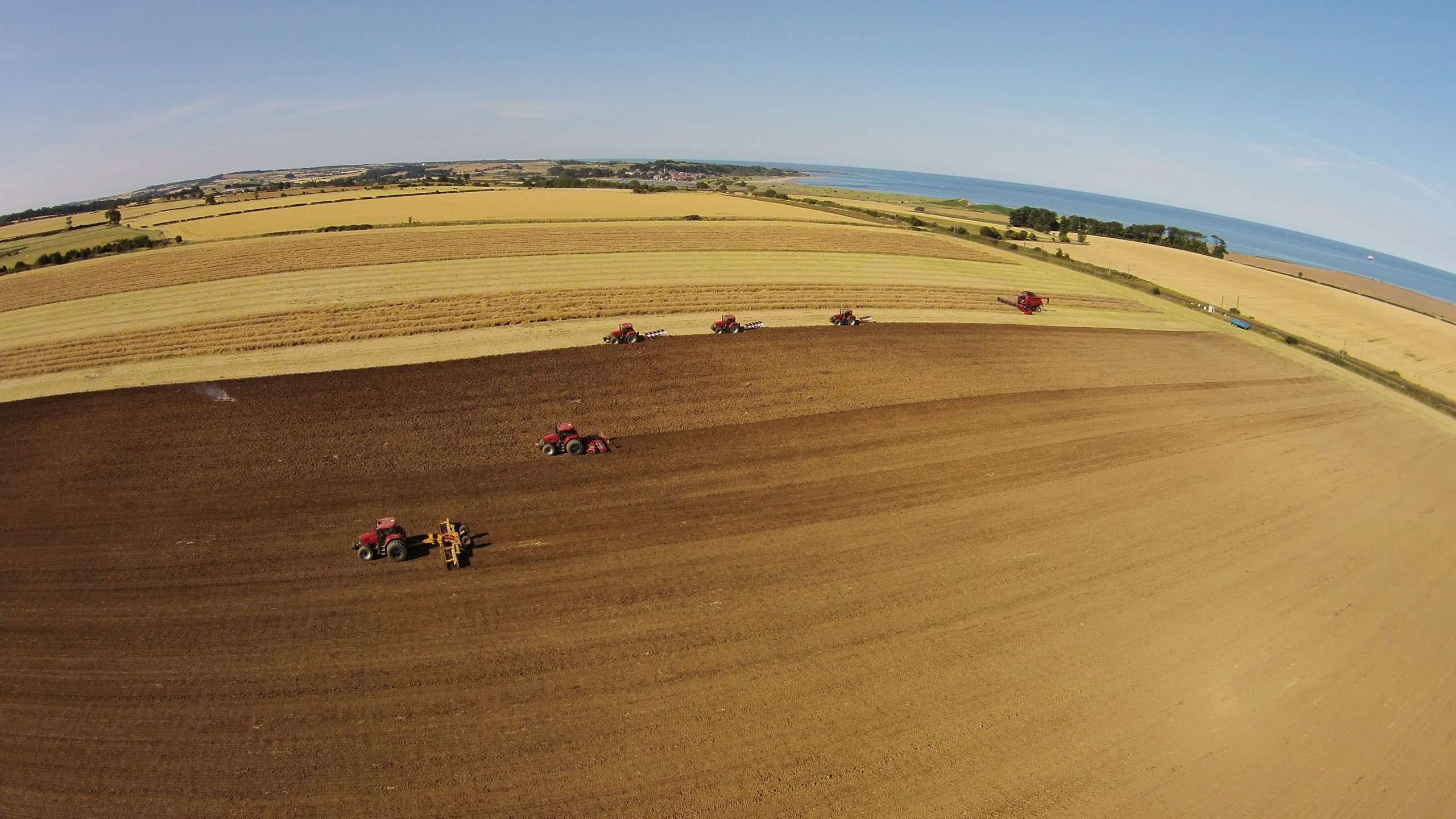 HARVEST 2015: COMBINING OSR, PLOUGHING AND ROLLING TO PREPARE THE LAND FOR SOWING NEXT YEAR'S WHEAT.